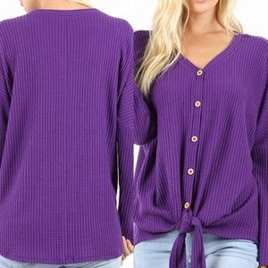 Waffle knit button down front knot sweater 💜